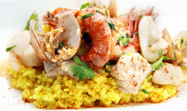 De paella van zeevruchten Stock Afbeelding