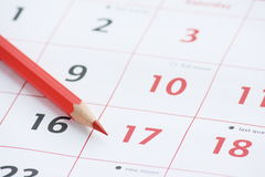De Pagina en het Potlood van de kalender Stock Foto