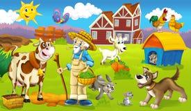 De pagina met oefeningen voor jonge geitjes - landbouwbedrijf - illustratie voor de kinderen Royalty-vrije Stock Afbeelding