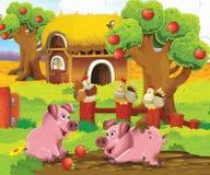 De pagina met oefeningen voor jonge geitjes - landbouwbedrijf - illustratie voor de kinderen Stock Afbeelding