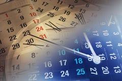De Pagina's van de klok en van de Kalender Stock Afbeelding