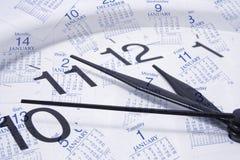 De Pagina's van de klok en van de Kalender Royalty-vrije Stock Afbeeldingen