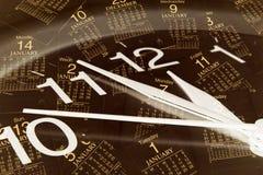 De Pagina's van de klok en van de Kalender Stock Fotografie