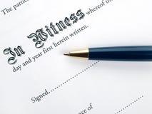 De pagina van de Handtekening van het contract Royalty-vrije Stock Afbeelding