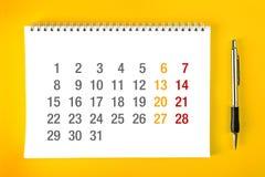 De pagina van de kalender Stock Foto