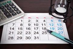 De pagina van de kalender Stock Fotografie