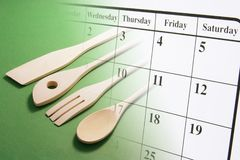 De Pagina van de kalender en Kokende Werktuigen Royalty-vrije Stock Foto's