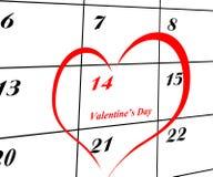De pagina van de kalender met een detail van de valentijnskaart royalty-vrije stock afbeeldingen