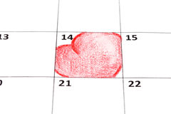 De pagina van de kalender met harten Royalty-vrije Stock Foto