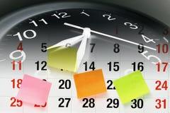 De Pagina van de klok en van de Kalender Stock Foto