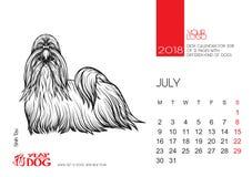 De pagina van de Desktopkalender voor 2018 met het beeld van een hond Stock Foto's