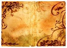 De pagina van Grunge met bloemengrens Royalty-vrije Stock Afbeeldingen