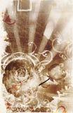 De pagina van Grunge met vlekken, stralen en bloemen Stock Foto's