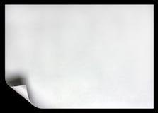 De pagina van het document met krul op zwarte Stock Afbeeldingen