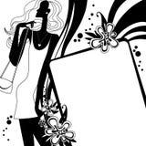 De pagina van het maniermalplaatje met silhouet van meisje in zwart-wit Royalty-vrije Stock Afbeelding