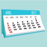 De pagina van kalender 2017 April van een Desktopkalender Royalty-vrije Stock Afbeelding