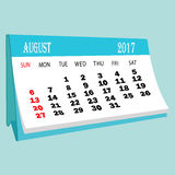 De pagina van kalender 2017 Augustus van een Desktopkalender Stock Afbeeldingen