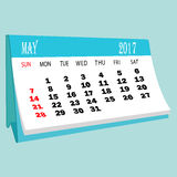 De pagina van kalender 2017 Mei van een Desktopkalender Stock Foto