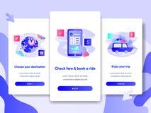 De paginamalplaatje van het Onboardingsscherm van het Online Concept van de Vervoersdienst Modern vlak ontwerpconcept webpaginaon vector illustratie