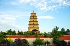 De Pagode Boeddhistische Historische Gebouwen van de Xi'an Grote Wilde Gans stock afbeeldingen