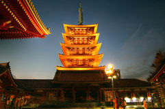 De Pagode van de Tempel Senso -senso-ji, Asakusa, Tokyo, Japan Royalty-vrije Stock Foto