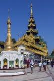 De Pagode van Shwedagon Complexe - Yangon - Myanmar Royalty-vrije Stock Afbeeldingen