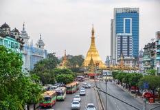 De pagode van Sule in Yangon, Myanmar stock foto