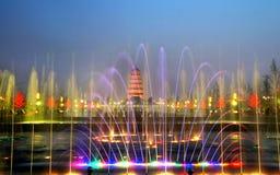 De Chinese pagode van Xian bij nacht Royalty-vrije Stock Afbeelding