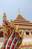 De pagodetempel van Boedha met serpentstandbeeld in de provincie T van Khon Kaen Stock Foto