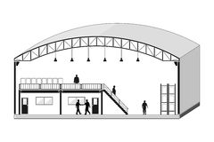 De pakhuisbouw, opslagsectie, de vectorillustratie van het dakwerkontwerp Stock Fotografie