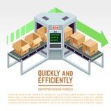 De pakketten van de transportbandverpakking vector 3D isometrisch concept Royalty-vrije Stock Foto's
