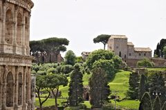 De Palatine Heuvel is in de voorgrond een detail van Colosseum De heuvel is een groot openluchtmuseum van oud Rome voorgesteld royalty-vrije stock afbeeldingen