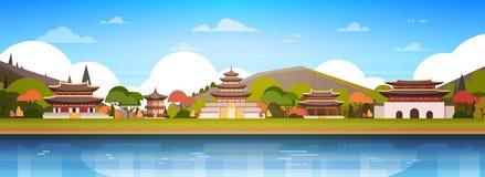 De Paleizen van Korea op de Zuidkoreaanse Tempel van het Rivierlandschap over Bergen Beroemd Aziatisch Oriëntatiepunt bekijken Ho vector illustratie