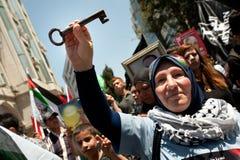 De Palestijnen verzamelen om Dag te herdenken Nakba Stock Foto's