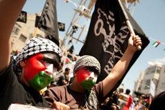 De Palestijnen verzamelen om Dag te herdenken Nakba Royalty-vrije Stock Foto's