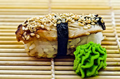 De Paling van sushi met Wasabi Royalty-vrije Stock Foto
