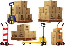 De pallets en de dozen van handvrachtwagens Royalty-vrije Stock Afbeeldingen