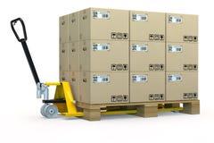 De palletvrachtwagen van de hand met vele dozen Stock Foto