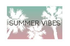 De palmenillustratie van de de zomer vibes slogan vector illustratie