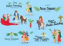 De palmzondag van de godsdienstvakantie vóór Pasen, viering van de ingang van Jesus in Jeruzalem, gelukkige mensen met vector illustratie
