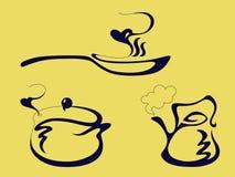 De pan, de ketel en de pot stock illustratie