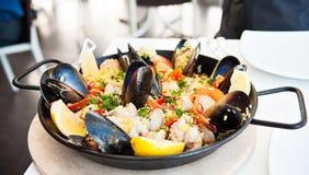 De pan van de paella Stock Foto's