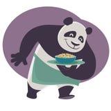 De panda draagt een dienblad met Chinees voedsel Royalty-vrije Stock Foto's
