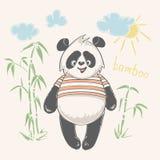 De panda draagt vectorillustratie Dierlijke Vector de panda van het drukontwerp, kinderendruk op t-shirt Stock Foto's