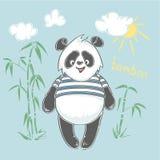 De panda draagt vectorillustratie Dierlijke Vector de panda van het drukontwerp, kinderendruk op t-shirt Royalty-vrije Stock Afbeeldingen