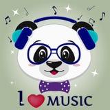 De panda is een musicus, hoofd in blauwe hoofdtelefoons, glazen en een vlinderdas in de stijl van beeldverhalen royalty-vrije illustratie