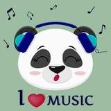De panda is een musicus, hoofd in blauwe hoofdtelefoons, glazen en een vlinderdas in de stijl van beeldverhalen vector illustratie