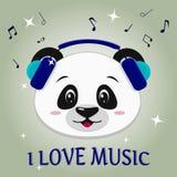 De panda is een musicus, hoofd in blauwe hoofdtelefoons, in de stijl van beeldverhalen vector illustratie