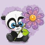 De Panda van de groetkaart met bloem royalty-vrije illustratie