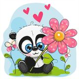 De Panda van de groetkaart met bloem en harten royalty-vrije illustratie